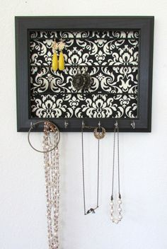 Black Jewelry Organizer Damask Frame Wall Jewelry by TheHopeStack, $32.50