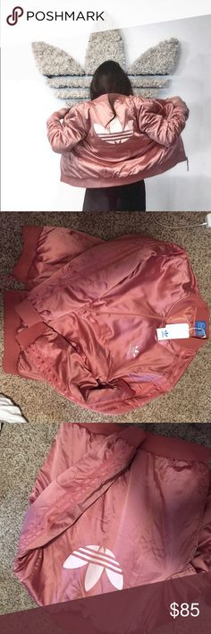 NWT Adidas Pink Satin Track/Bomber Jacket Brand new with tags, satin pink bomber jacket, had 3 stripes on both arms. Adidas embroidery on chest, back adidas originals logo. as seen on @jnelv. No trades Jackets & Coats