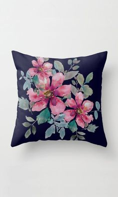 Flowers -watercolor Throw Pillow