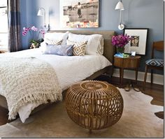 cow hide rug + white bedding