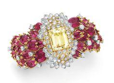 - A DIAMOND, RUBELLITE TOURMALINE AND YELLOW SAPPHIRE BRACELET, BY DAVID WEBB
