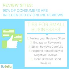 Review sites are an easy way to give your small business a greater online presence.  Sites like like Yelp, Google, and Angie's List all impact consumer decision making by providing customers with the opportunity to hear others feedback before they visit.    Here are five tips to ensure that your small business is using these sites correctly:  #smallbusiness #marketing #BoBella #Branding #marketingtips