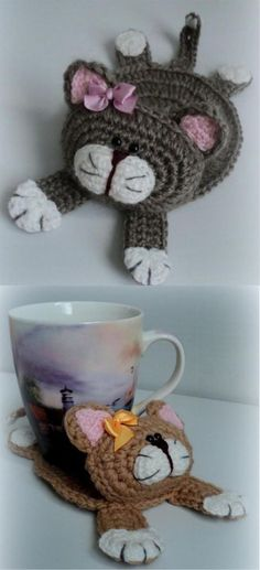 Amigurumi Crochet Cat Stand Under the Cup FREE Crochet Pattern Crochet Coaster Pattern, Crochet Cat Pattern, Crochet Patterns, Free Pattern, Knitting Patterns, Sewing Patterns, Doily Patterns, Amigurumi Patterns, Crochet Ideas