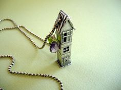 tall silver tudor house necklace by rachelsthings on Etsy, $200.00