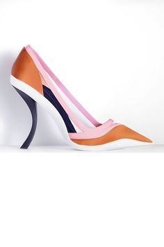 Christian Dior Pointed Pump in Orange Satin and Pink Patent Leather, price upon request; dior.com   - ELLE.com