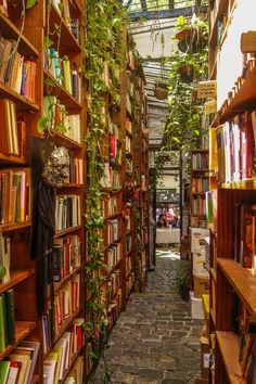 "bookmania: "" Babilonia Libros, a bookshop in the university district of Uruguay The greens and the books blend so well! """