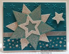 "2014 Whisper White 8-1/2X11 Card Stock Island Indigo 8-1/2 X 11 Card Stock Lost Lagoon 8-1/2"" X 11"" Cardstock Silver Metallic Encore Pad Silver Glimmer Paper Bright Beautiful Clear-Mount Stamp Set Lucky Stars Textured Impressions Embossing Folders Confetti Stars Punch Stars Framelits Die Stampin' Dimensionals Tombow Multi-Purpose Adhesive All Is Calm Designer Washi Tape"