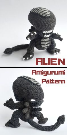 "Amigurumi Crochet Doll Pattern inspired by the ""Alien"" franchise - available for instant digital download, by Krawka on Etsy #ad #amigurumi #alien"