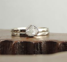 14k White Gold Uncut Diamond Ring, Rough Diamond Engagment. Pretty!