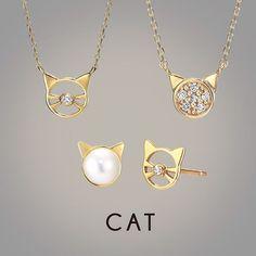 ダイヤモンドやパールをあしらった、キュート&上品な猫モチーフ #cat #猫 #ジュエリー #ネックレス #ピアス #necklace #Pierce #Diamond #Pearl #STARJEWELRYGirl #スタージュエリーガール