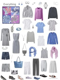a capsule wardrobe in grey with accents of blue and orchid based on the Hermes scarf Etude pour un Irish Arc-en-ciel