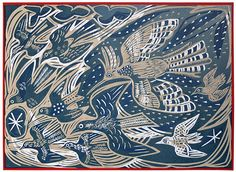 """The Flock"" - a screenprint by Mark Hearld http://www.stjudesprints.co.uk/products/the-flock"