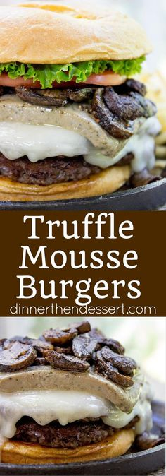 Truffle Mousse Burgers made at home with delicious truffle mousse, mushrooms and pepper crusted beef patties, this is the perfect indulgent burger for your summer cookout, graduation or Father's Day. ad @alexianpate