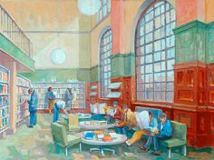 Dewsbury Library Interior by Malcolm Jones  Date painted: 1994