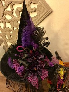 Items similar to Halloween Witch Hat Decor on Etsy – Best Hallowen Halloween Witch Decorations, Halloween Witch Hat, Halloween Displays, Holidays Halloween, Halloween Diy, Happy Halloween, Witches Costumes For Women, Witch Costumes, Mabon