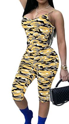 46b3258a34 Lutratocro Womens Stretch Strap Camo Print Low Neck High Waist Romper  Jumpsuits