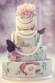 Wedding Cake, butterfly, flowers