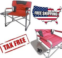 Oversized Portable Folding Camping Chair W/Table Outdoor Big Director Beach  XXL