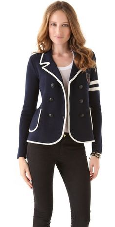 Wool blazer with white piping by Juicy Couture
