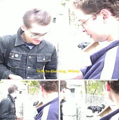 Mikey Way and Ray Toro   funny moment   woof. Woof? Lol