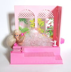 Barbie Bubble Bath Tub Vintage 1981 Pink Bathtub Shower Vanity Mirror - Works