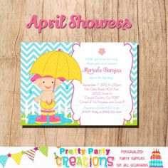 APRIL SHOWERS invitation  YOU Print  boy by PrettyPartyCreations, $11.50