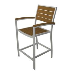 Outdoor POLYWOOD® Euro Recycled Plastic Counter Height Arm Dining Chair Silver Frame Teak - A201FASTE
