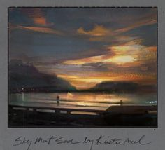 sky meets sea ~ watercolor ~ by nathan fowkes (album cover for krister axel)