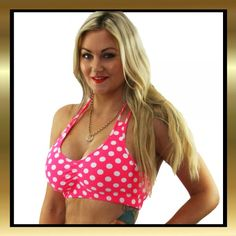 5d223f7562f2b5 Pink and White Polka Dot Stretch Lycra Halter Tie Cross Back Crop Top