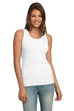 District Threads Juniors 2x1 Tank, XL, White Made by #District Threads Color #White