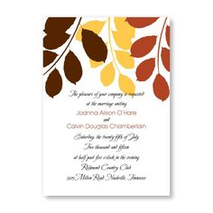 Passionate Leaves Wedding Invitations by TheAmericanWedding.com