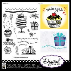 Digital Scrapbooking - Digital Stamps at PaperWishes.com -Magical Birthday Digital Stamp Set