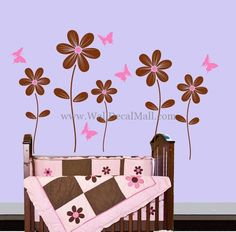 Butterfly Flying Around Flower Wall Decals – WallDecalMall.com