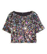 Rainbow sequined sparkle crop top Size medium but can fit a large well H&M Tops Girls Fashion Clothes, Teen Fashion Outfits, Girl Fashion, Fashion Dresses, Ladies Fashion, Crop Top Und Shorts, H&m Shorts, Crop Tops, Crop Shirt