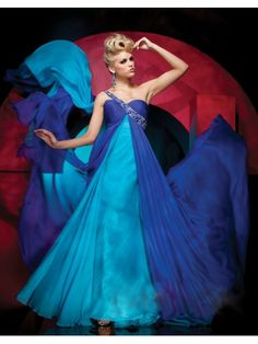 Chiffon A-Line Strapless Sweetheart Neckline Rouched Empire Bust Prom Dress