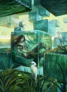 THIS ONE--Slumbering Naiad by Julie Dillon-Mystical, visionary and fantasy art. Discover some of the most spiritual artwork by amazing artist from around the world. Fantasy Kunst, Fantasy Art, Fantasy Story, Illustrations, Illustration Art, Mermaids And Mermen, Inspiration Art, Merfolk, Mermaid Art