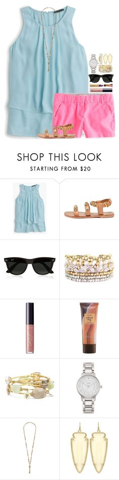"""READ DESCRIPTION TONS OF STUFF & PEOPLE TO FOLLOW & TAGLIST INFO"" by simply-lilyy ❤ liked on Polyvore featuring J.Crew, Report, Ray-Ban, Ettika, tarte, Bourbon and Boweties, Kate Spade, Chan Luu, Kendra Scott and Gold Philosophy"