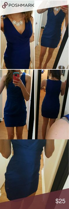 Express dress Absolutely gorgeous royal blue dress. Comes to mid thigh, perfect mix of classy and sexy. Great condition, no stains or marks. Great for all types  of occasions. Fully lined. Worn once for a wedding. 😄 Express Dresses