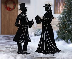 Victorian Holiday Caroler Outdoor Shadow Stake