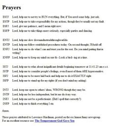 MBTI prayers. I'm not religious but I think these are funny!