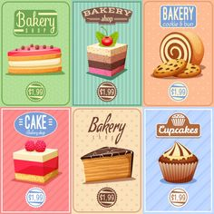 Buy Cakes and Sweets Mini Posters Collection by macrovector on GraphicRiver. Traditional bakery confectionary 6 vintage mini posters composition banner with cupcakes caked and chocolate cookies . Bakery Menu, Bakery Cakes, Chocolate Diy, Chocolate Cookies, Chocolate Coffee, Cupcake Art, Cupcake Cakes, Cocoa Powder Recipes, Banners