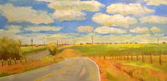 Country Road-  Oil Painting on Canvas- 18x36 Original-  Landscape, Clouds, Farm