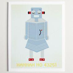 Robot Hannah Print  by Modern Pop Designs