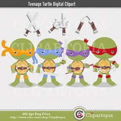 Teenage Turtle Digital Clipart For Personal and by ClipArtopia