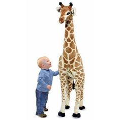Giant Exotic Plush Giraffe from Melissa and Doug at aBaby. We offer Melissa and Doug Giant Exotic Plush Giraffe for your baby at great prices. Giant Giraffe, Giraffe Stuffed Animal, Giant Stuffed Animals, Giraffe Toy, Giraffe Nursery, Safari Nursery, Safari Theme, Jungle Theme, Giant Animals