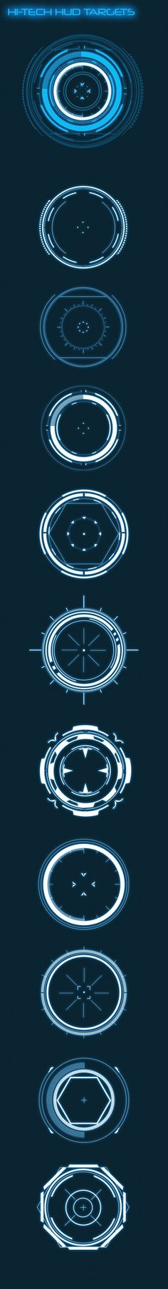 Buy Hi-Tech HUD Targets (Custom Shapes) by anchor_point_heshan on GraphicRiver. 10 Hi-Tech target circles set (Custom shapes) This file contains 10 Hi-Tech target circles in a custom shapes file, Y. Ios App Design, Ui Design, Game Design, Photoshop Shapes, Photoshop Design, Adobe Photoshop, Latest Technology Gadgets, Business Poster, Ui Elements