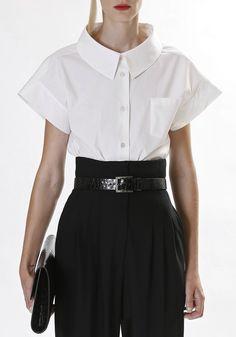 classic black & white ... love the high waist pants ..Tumblr