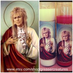 NEED THIS NOW. Saint Jareth David Bowie Prayer Candle. by GreaserCreatures, $6.99