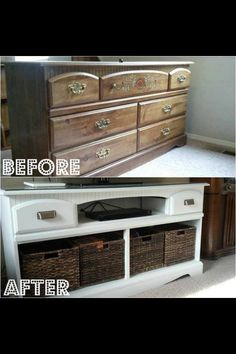 Seriously - I've got to start looking for ugly dressers at garage sales - this is a great looking reno . . .