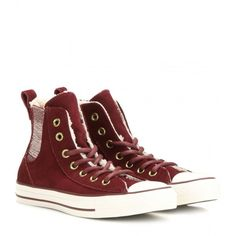 Converse Chuck Taylor All Star Chelsee Hi Sneakers ($76) ❤ liked on Polyvore featuring shoes, sneakers, red, star shoes, converse shoes, red trainers, red sneakers and star sneakers
